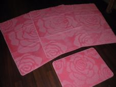 ROMANY WASHABLES NON SLIP 2018 SUPER THICK ROSE DESIGN FULL SETS OF 4PCS PINK